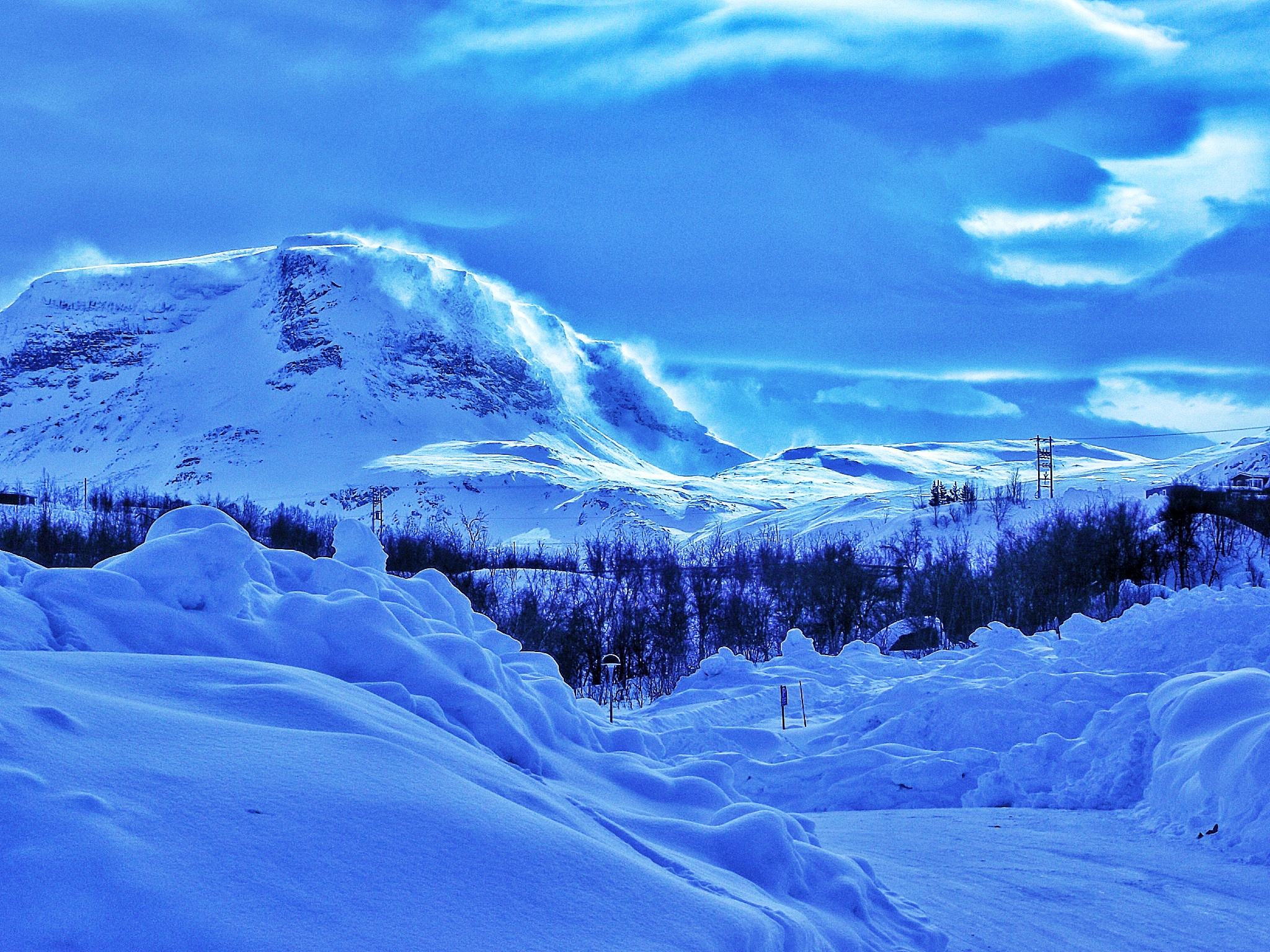 Mountains in Abisko. The blue hue was a beautiful optical effect