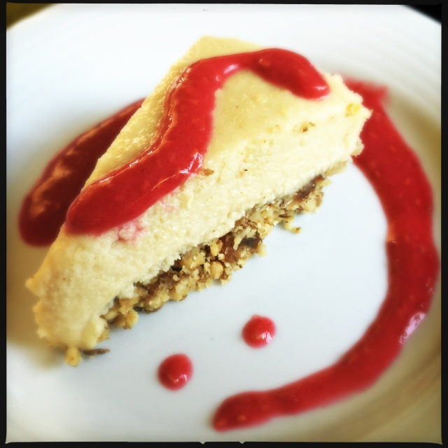 Vegan Cheesecake with Fruit Coulis